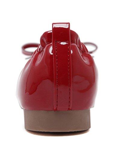 Fortuning's JDS Weiche Sohlen süße Bowknot Quadrat-köpfigen beiläufige Egg Roll Schuhe Rot
