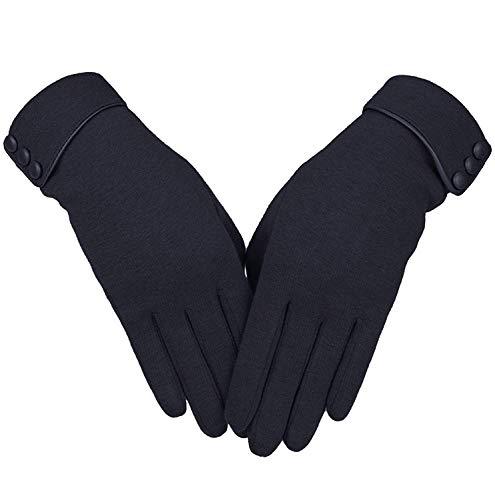 Ksnrang touchscreen guanti invernali da donna,signora esterno guanti running guanti da smartphonetouch screen (taglia unica, nero)