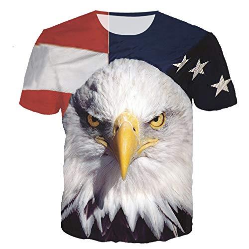 RXBC2011 Herren T-Shirt American Flag Adler und Katze Bedruckt XS-5XL. - Weiß - Large (US - Medium)