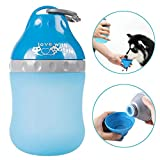 Pyrus Tragbare Silikonflasche für Haustiere, zusammenklappbar, zur Verwendung als Schüssel, für den Außenbereich, für Wasser und Lebensmittel, mit Karabinerhaken, für Hunde und Katzen