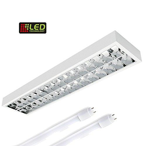 LED Rasteranbauleuchte, 1500mm, 2x22W, 6400K Tageslicht, 2x3000lm, Büroleuchte, Deckenleuchte, Rasterleuchte, Deckenlampe (Röhren-monitor)