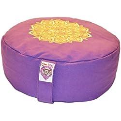 New Om Vita 100% Organic Zafu cojín de meditación con diseño de Mandala (púrpura bordado)