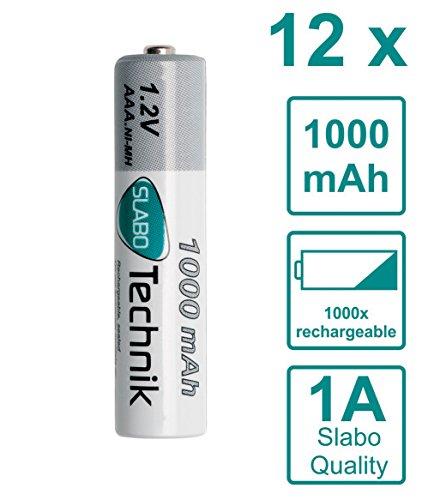 Slabo Ni-MH Akku AAA Micro Batterien wiederaufladbar rechargeable Batterie HR03 Nickel-Metallhydrid 1000mAh/1.2V - 12er-Pack