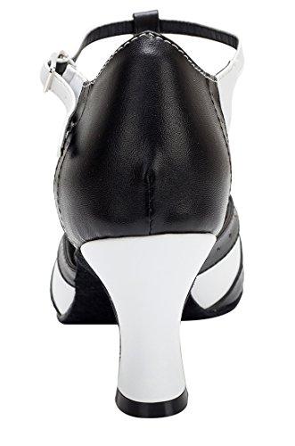 TDA - Sandali con Zeppa donna 7cm Heel Black White