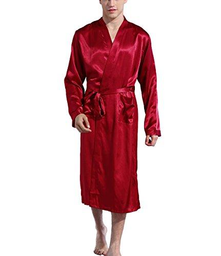 Hammia Herren Morgenmantel Bademantel Lang Satin Nachtwäsche Kimono Sleepwear Satin Robe V Ausschnitt mit Gürtel
