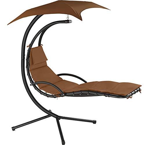 TecTake 800699 Hängeliege mit Gestell und Sonnendach mit UV Schutz, 195 x 118 x 202 cm, ergonomisch geformte Liegefläche, inkl. Sitz- und Kopfpolster - Diverse Farben - (Braun | Nr. 403075)