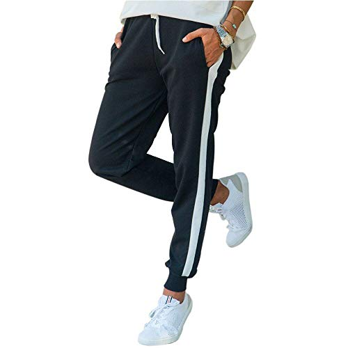Moceal Damen Jogginghose Verstellbarer Gummizug Stretch Trainingsanzug Trainingshose Fitnesshose Schlafanzug-Hose Fitness Joggen Röhrenhosen Trainingshose Hosen Sporthosen (M, Schwarz1)