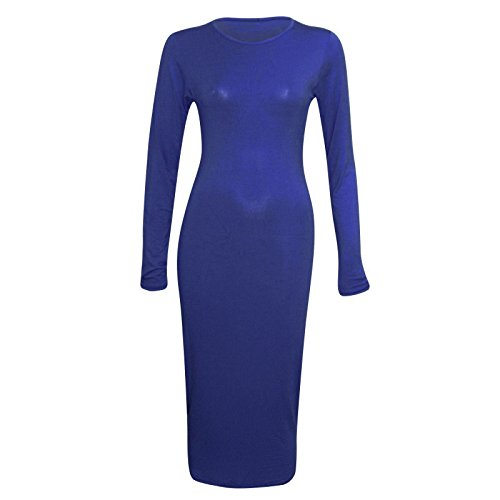 Janisramone Damen schlicht Langarm stretch Bodycon Jersey Maxi Kleid Marine