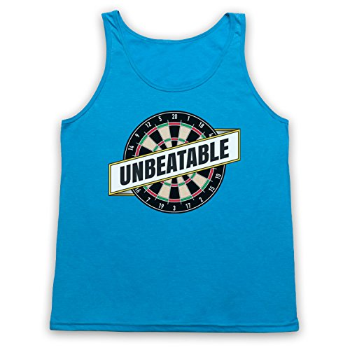 Darts Unbeatable Darts Slogan Tank-Top Weste Neon Blau