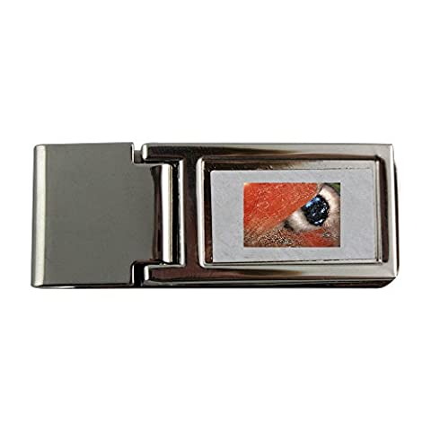 Metal money clip with PEACOCK BUTTERFLY INACHIS IO
