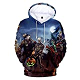 AGOLOD Felpe Unisex Stampate in 3D con Tasche (XXS:(Busto: 17.0in, Lunghezza: 24.8in), Hallowmas greysky)