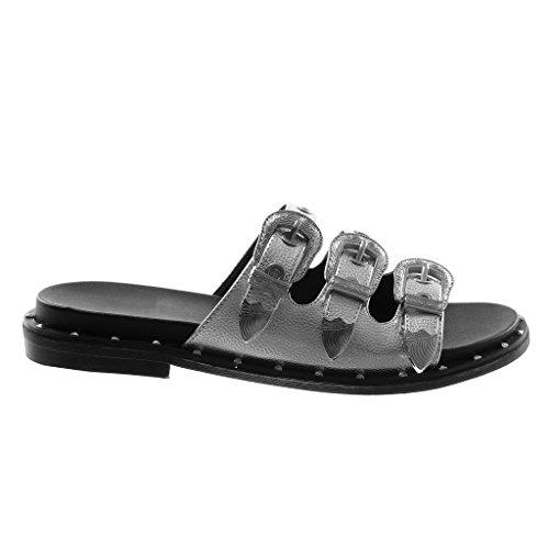 Angkorly Scarpe Moda Sandali Mules Slip-On Donna Fibbia Metallico Perforato Tacco Tacco Piatto 3 cm Argento