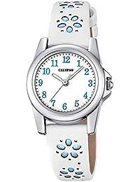Calypso Kinder-Uhr Blümchen Elegant analog Leder-Armband weiß blau Junior Quarz-Uhr Mädchenuhr UK5712/4
