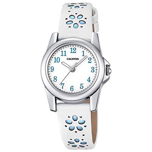 Calypso-Kinder-Uhr-Blmchen-Elegant-analog-Leder-Armband-wei-blau-Junior-Quarz-Uhr-Mdchenuhr-UK57124
