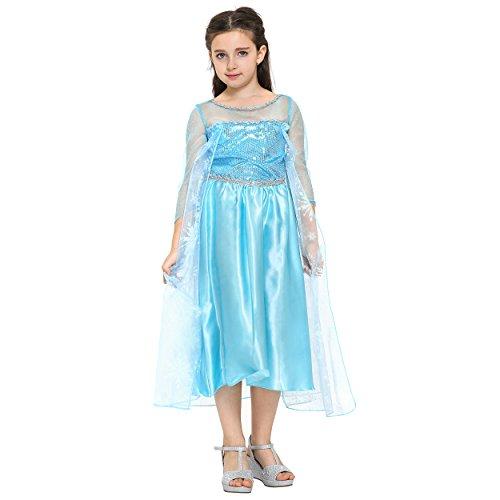 Imagen de katara  disfraz de la princesa elsa, vestido de la reina del hielo azul con copos de nieve en el tren  para niñas de 8 9 años alternativa