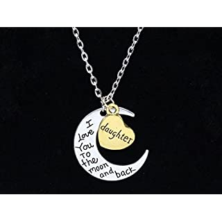 I Love You To The Moon And Back Family Pendant Necklace Choker Chain - Mom