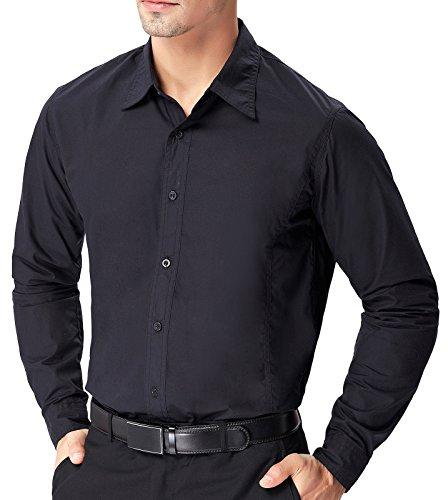 Paul Jone® Herren Hemd Langarm Slim Fit Business Hemd Freizeit Hemd PJ51(Schwarz)