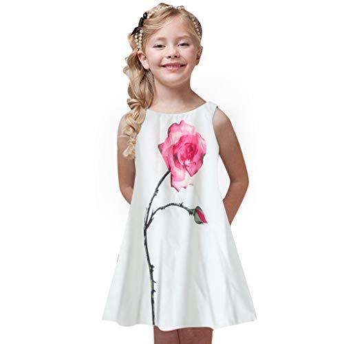 Mädchen Sommer Prinzessin Kleid Kinder ärmellose A-Linie Vintage Kleider Rundhals Blumen Knielänge Sommerkleid Retro Rockabilly Swing Elegant Festlich Hochzeit Cocktailkleid ()