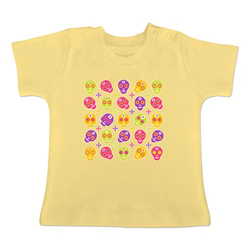 Candy Skull Kostüm - Up to Date Baby - Candy Skull - 6-12 Monate - Hellgelb - BZ02 - Baby T-Shirt Kurzarm