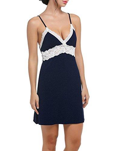 Ekouaer Nachtwäsche Sleepwear Sexy Negligee Träger Nachthemd Nachtkleid V-Ausschnit kleid mit Spitzenbesatz für Damen Marine