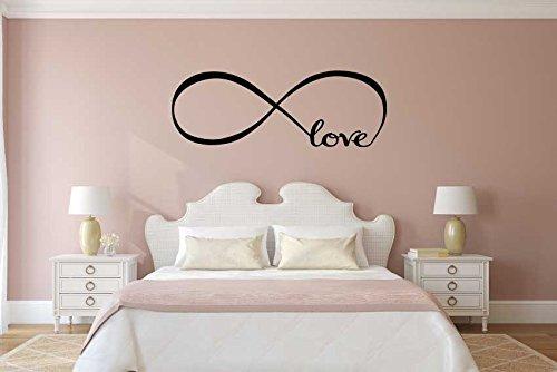 Adesivo4you ® adesivi murales, arredamento camera da letto wall stickers decor infinity simbolo parola amore arte del vinile muro (medium 135x28 cm., nero)