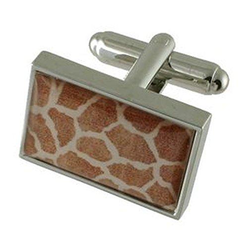 Collegamenti del bracciale pelle giraffa stampare gemelli~Safari gemelli + fatto a mano custodia nera