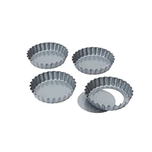 Dexam Non-stick loose base Mini Quiche /Tart pan 10 cmx 1.75cm Set of 4