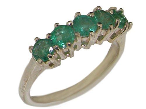 Luxus Damen Ring Solide Sterling-Silber 925 mit Smaragd - Verfügbare Größen : 47 bis 68