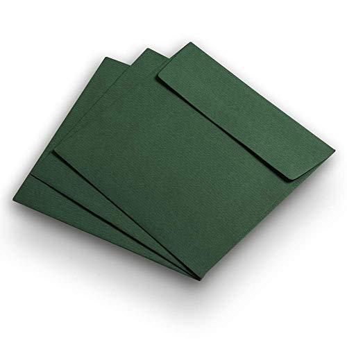 50 Briefhüllen, quadratisch, 146 x 146 mm, Tannengrün, geripptes Papier, Verschluss haftklebend (Papier-verschluss)