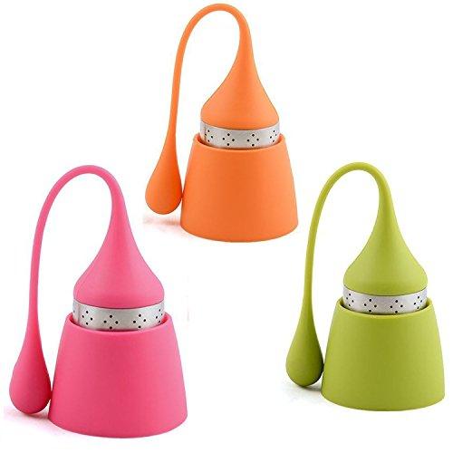 iNeibo Kitchen infusore per tè e tisane/colino/filtro per te in silicone con setaccio in acciaio inox e un tappo a forma di cappello d'elfo,100% silicone privo di BPA,Set da 3(verde,rosa,arancione)