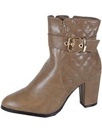 d1bf20dad18460 trendBOUTIQUE Carroll - schicke Damen Stiefeletten Steppmuster Deko Metall  Kette hoher Absatz Herbst Winter Boots 36