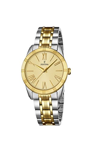 Festina BOYFRIEND Women's Quartz Watch with Gold Dial Analogue Display and Multicolour Stainless Steel Gold Plated Bracelet F16941/1