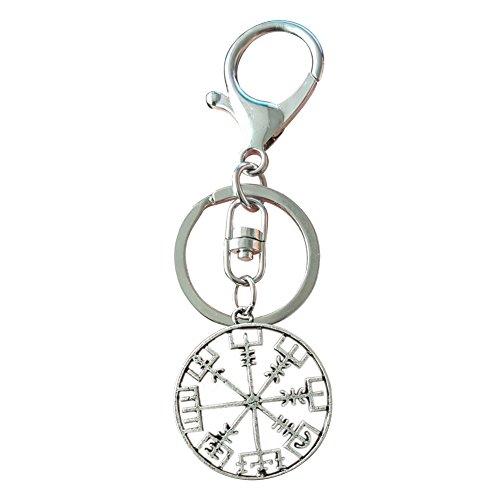 Fengteng Kompass Schlüsselanhänger Silber Hohl Rund Wikinger-Kompass Vegvisir Amulett...