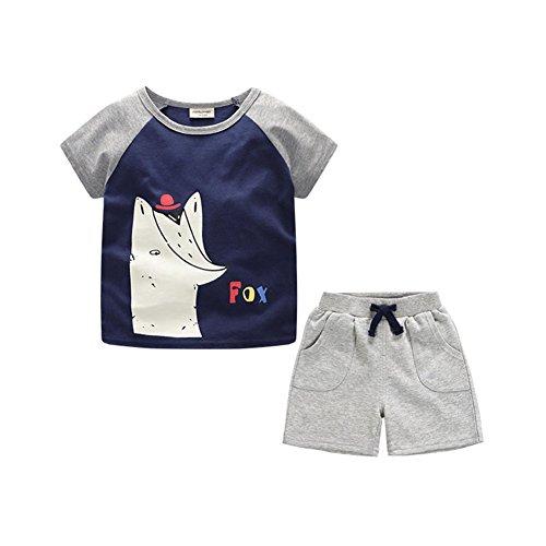 2 Stück Drawstring Pyjama Set (Ruth Wang Jungen 2018 Neue Sommer Karikatur Druckte Outfits Set Top+shorts Kinder Sport Anzug Blau 5 Jahre)