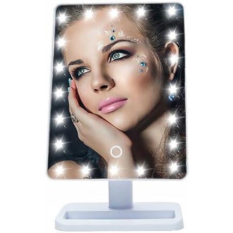 Portátil LED pantalla táctil maquillaje espejo con 20LEDs luz maquillaje cosméticos espejo ajustable Contador de tocador/espejo