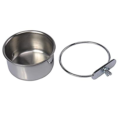 Stainless Steel Hanging Bowl Bird Food Feeding Dish Water Seed Feeder for Parrot Macaw African Greys Budgies Parakeet Cockatiels Conure Lovebirds Finch Pigeon Cage from Keersi