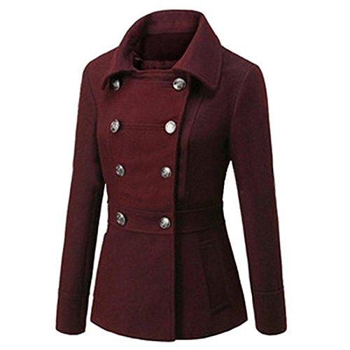 Partiss Damen Frauen Stilvolle Zweireihigen Baumwolle Gefuetterte Jacke,Tag 2XL/EU L,Wine Red
