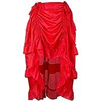 Falda Gótica Steampunk Vestidos para Mujer 50s Retro BIBOKAOKE Faldas Pirata Skirt Asimétrica Multi-Capa de la Falda con Volantes