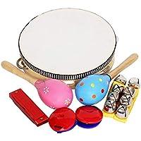 8PCS Orff Music Suit Kit Tambourine + Sand Hammer + Ring Plate + Hand Bell + Harmonica Atrezzo de música antigua para niños