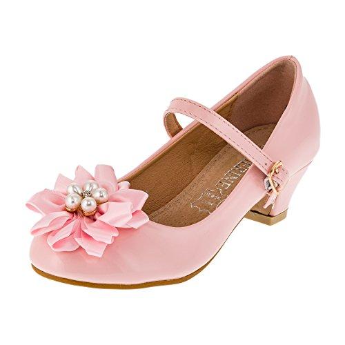 Festliche Mädchen Ballerina Pumps Schuhe mit Echt Leder Innensohle und Absatz M409rs Rosa 35