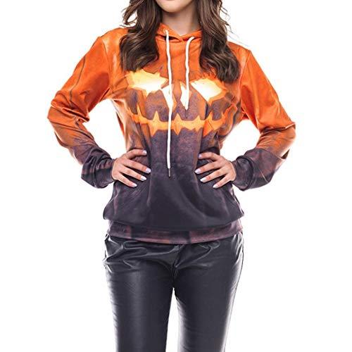 (ITISME TOPS Frauen Halloween Party Skew Neck Pumpkin Print Sweatshirt Jumper Pullover Tops)
