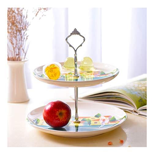 IYAN-PLATE Keramik Doppelschicht Obstschale, Handbemalte Garten Candy Dish Trockenfrüchte Box European Fashion Creative Snack Rack (Color : C) 3 Footed Candy Dish