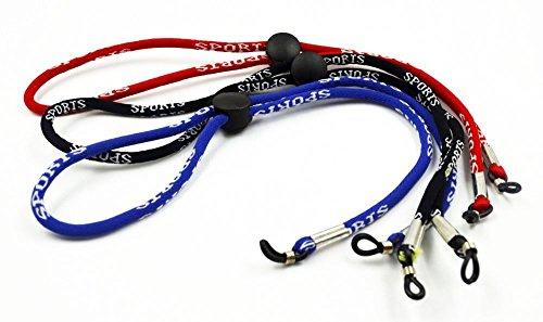 3 X Sport Sunglass Neck Strap Rope Lanyard Halter Schwarz / Blau / Rot (Schleife Rote Brille)