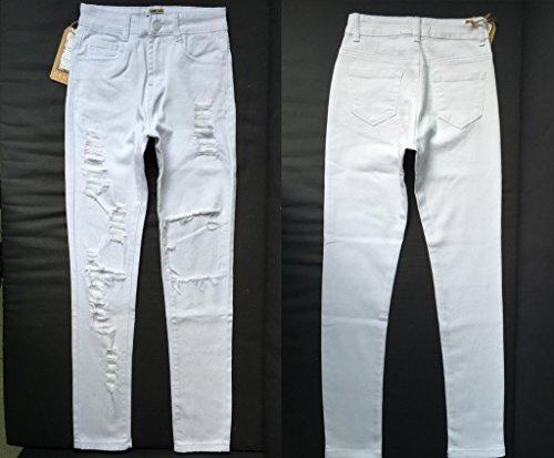E Support™ Damen Jeans Skinny Hose High Waist Rissen Stretch Röhrenjeans weiß Weiß