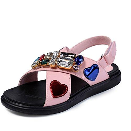 Mädchen es Open Toe Cross Strap Ledersandalen für Kinder (Kleinkind/Kleines Kind/großes Kind) Jeweled Slingback