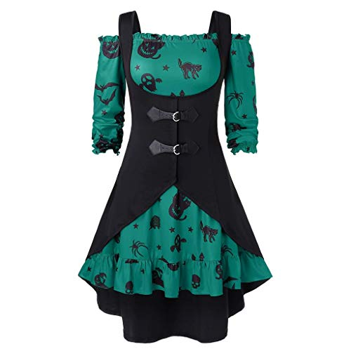 serliyHalloween Frauen Weinlese Kleid,Frauen Elegant wild V Ausschnitt Große Größen Kürbis Druck Halloween Vintage Kleid mit Weste