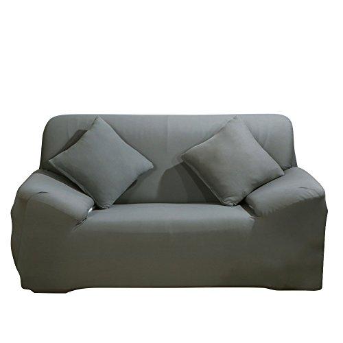Sofa Überwürfe Sofabezug stretch elastische Sofahusse Sofa Abdeckung in verschiedene Größe und Farbe (2 Sitzer für Sofalänge 140-185cm, Grau)