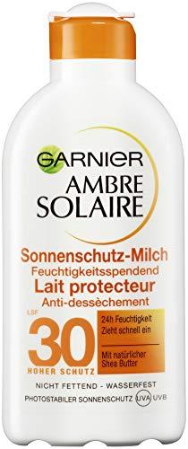 Garnier Ambre Solaire Sonnenschutz-Milch mit LSF 30, feuchtigkeitsspendend mit Shea-Butter, wasserfest, 3er-Pack (3 x 200 ml) - Shea-butter-formel