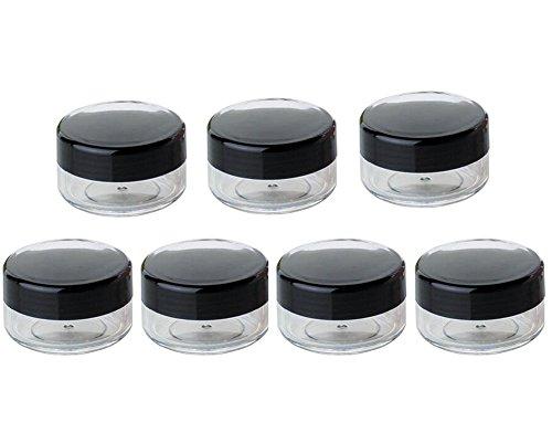 24 PCS 10G Rond En Plastique Clair Voyage Cosmétique Rechargeable Pots Flacons Bouteilles Maquillage Cas Titulaire De Stockage De Stockage Conteneur pour Crème Lotion Poudre (Noir)