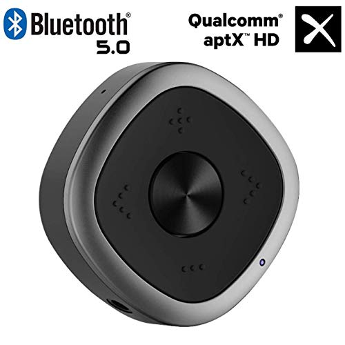 ESOLOM Bluetooth 5.0 Transmitter Empfänger, Bluetooth Audio Adapter Sender Receiver Langstrecken Tragbarer mit aptX HD Audio & Geringe Verzögerung für TV Laptop Kopfhörer Lautsprecher Stereoanlage